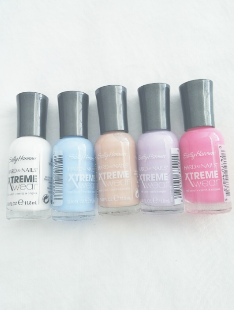 From left to right:  White On #300  Babe Blue #240  Bare It All #105  Lacey Lilac #270  All Bright #178