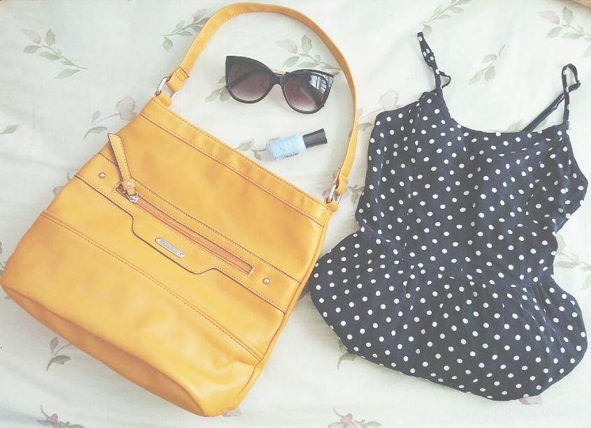 Dress: H&M, size 2 Purse: Marshalls Sunglasses: Charming Charlie Nail Polish: Sally Hansen Hard as Nails Xtreme Wear, Babe Blue, #240