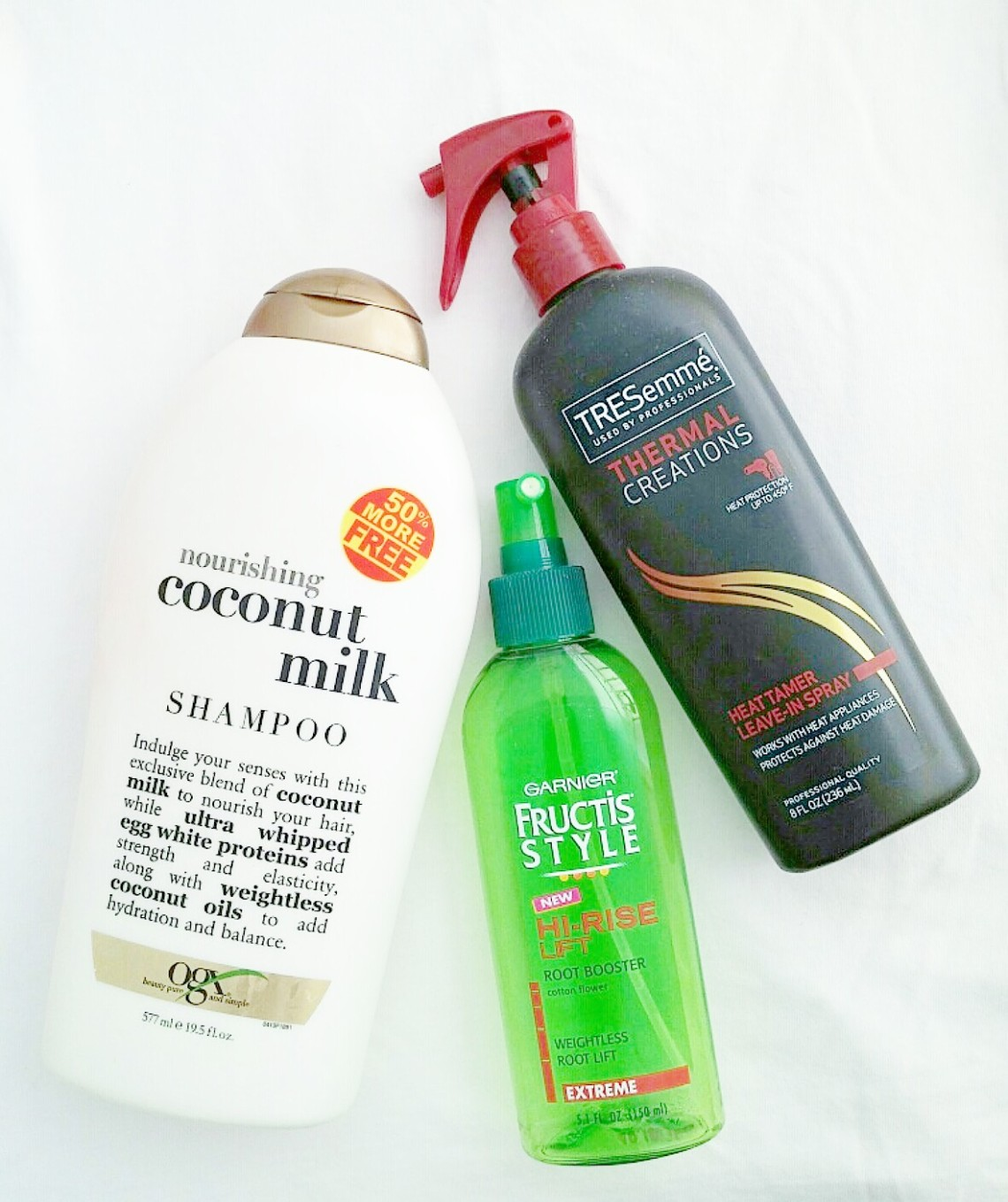 OGX Shampoo, Tresemme Heat Protectant, and Fructis Root Booster
